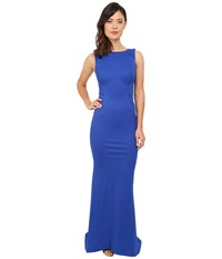 Zac Posen Sleeveless Boat Neck Gown Royal Blue