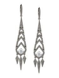 Adriana Orsini Stella Long Spiked Crystal Drop Earrings Dark Silver