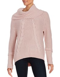 Ivanka Trump Cable Knit Cowlneck Sweater Pink