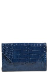 Halogen Angled Leather Day Clutch Blue Navy Croc