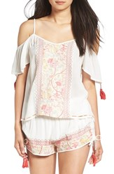 Band Of Gypsies Women's Embroidered Cold Shoulder Top Ivory Coral