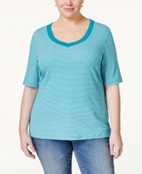 Karen Scott Plus Size Striped Top Only At Macy's New Pool Green