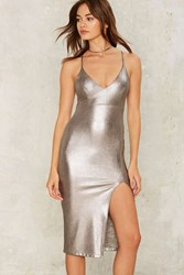 Sheen Queen Metallic Dress Silver