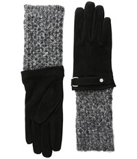 Lauren Ralph Lauren Knit Cuff Suede Gloves Black Black Heather Dress Gloves