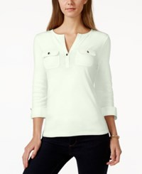 Charter Club Solid Split Neck Henley Top