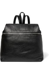 Kara Large Textured Leather Backpack Black