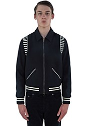 Saint Laurent Ray Striped Teddy Jacket Black