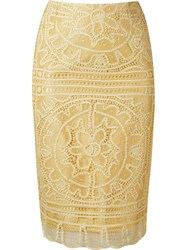 Martha Medeiros 'Renascenca' Lace Pencil Skirt Yellow And Orange