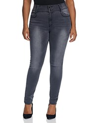 City Chic Dark And Stormy Faded Skinny Jeans In Grey Charcoal