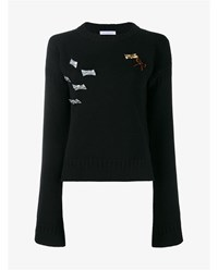 J.W.Anderson Sweater With Bow Embellishment Black Silver Brown Pink