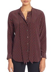 Equipment Kate Moss For Tie Neck Silk Blouse Cherry Red