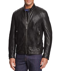 Andrew Marc New York Boarder Leather Moto Jacket Jet Black