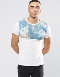 Jack And Jones Jack And Jones T Shirt With Floral Panel White