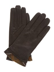 Barbour Tartan Trimmed Leather Glove Brown