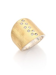 Rene Escobar Diamond 18K Yellow Gold And Sterling Silver Wide Band Ring Gold Silver