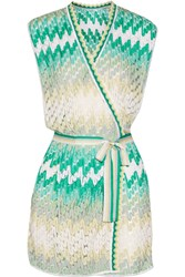 Missoni Crochet Knit Wrap Mini Dress Green