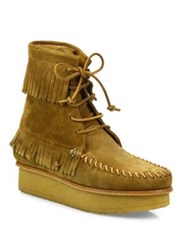 Giuseppe Zanotti Svoll Suede Fringe Moccasin Booties Tan