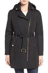 Michael Michael Kors Women's Asymmetrical Zip Front Hooded Trench Coat Black