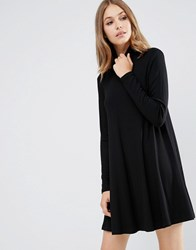 Asos Swing Dress In Rib With Polo Neck And Long Sleeves Black