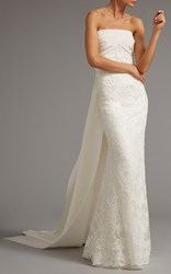 Elizabeth Kennedy Lace Column Gown With Back Tie White