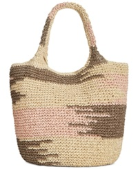 Straw Studios Large Multi Straw Tote Grey Camo