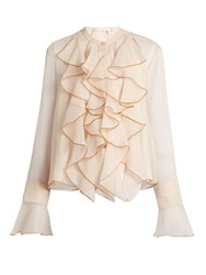 See By Chloe Ruffle Trimmed Crepon Blouse Nude