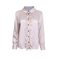 The Bee's Sneeze Ruffle Placket Shirt Dot Print Black White
