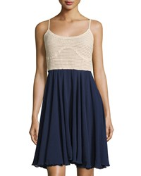 Neiman Marcus Sleeveless Crochet And Gauze Fit And Flare Dress Marine