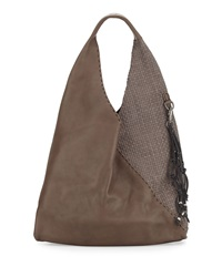 Canotta Smooth Woven Hobo Bag Gray Henry Beguelin