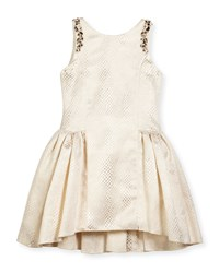 Zoe Sleeveless Embossed Metallic A Line Dress Gold Size 7 16 Girl's Size 7