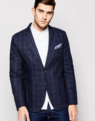 United Colors Of Benetton Check Blazer In Regular Fit Navy901