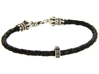 King Baby Studio Thin Leather Braided Crown Bracelet Black Silver Bracelet