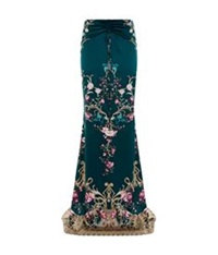 Roberto Cavalli Ruched Floral Print Maxi Skirt Teal