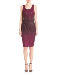 St. John Ombre Knit Sequin Sheath Dress Raspberry Plum