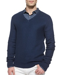 Michael Kors Tuckstitched V Neck Sweater Blue