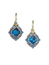 Konstantino Thalassa London Blue Topaz Sterling Silver And 18K Yellow Gold Drop Earrings Silver Multi