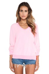 Wildfox Couture Baggy Beach Long Sleeve V Neck Pink