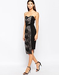 Little Mistress Bandeau Midi Dress With Floral Overlay Blackwhite