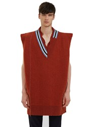 Raf Simons Oversized Destroyed Varsity Sweater Vest Brown