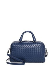 Bottega Veneta Woven Lambskin Top Handle Satchel Pacific Light Grey