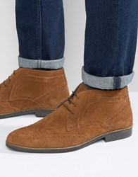 Red Tape Brogue Ankle Boots Tan