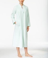 Miss Elaine Zip Front Brushed Back Terry Robe Mint