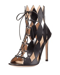 Gianvito Rossi Diamond Cutout Lace Up Sandal Nero