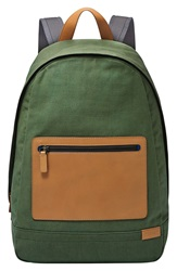 'Kroyer' Canvas And Leather Backpack Duck Green