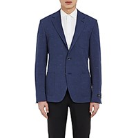Barneys New York Men's Slub Weave Two Button Sportcoat Navy