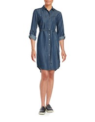 Lord And Taylor Chambray Shirtdress Dark Wash