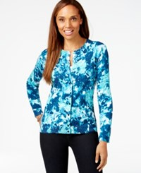 Karen Scott Printed Scoop Neck Cardigan Only At Macy's