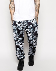 Jaded London Sweatpants In Rose Print Black