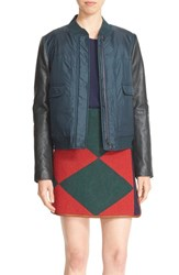 Tory Burch Women's Leather Sleeve Down Puffer Jacket