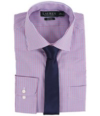 Lauren Ralph Lauren Check Spread Collar Slim Shirt White Blue Red Men's Long Sleeve Button Up Multi